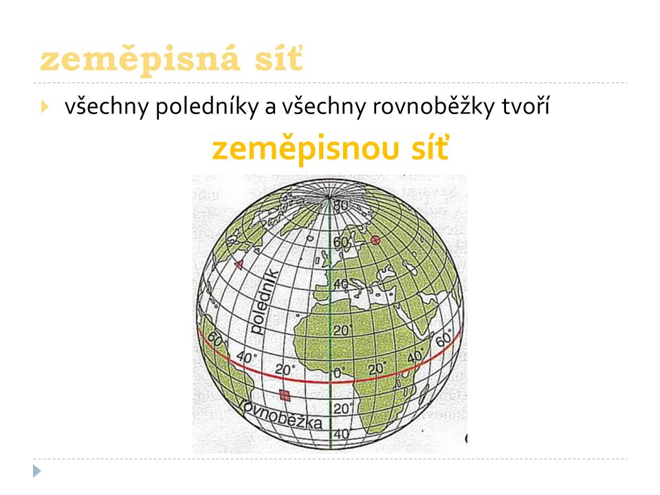  všechny poledníky a všechny rovnoběžky tvoří zeměpisnou síť zeměpisná síť