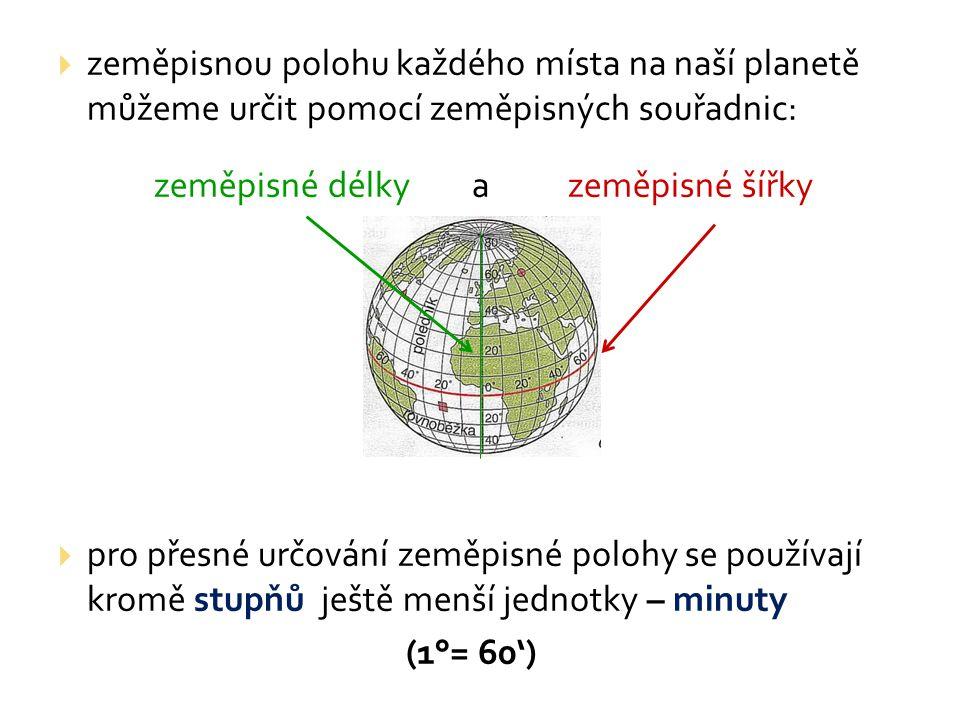  zeměpisnou polohu každého místa na naší planetě můžeme určit pomocí zeměpisných souřadnic: zeměpisné délky a zeměpisné šířky  pro přesné určování zeměpisné polohy se používají kromě stupňů ještě menší jednotky – minuty (1°= 60')