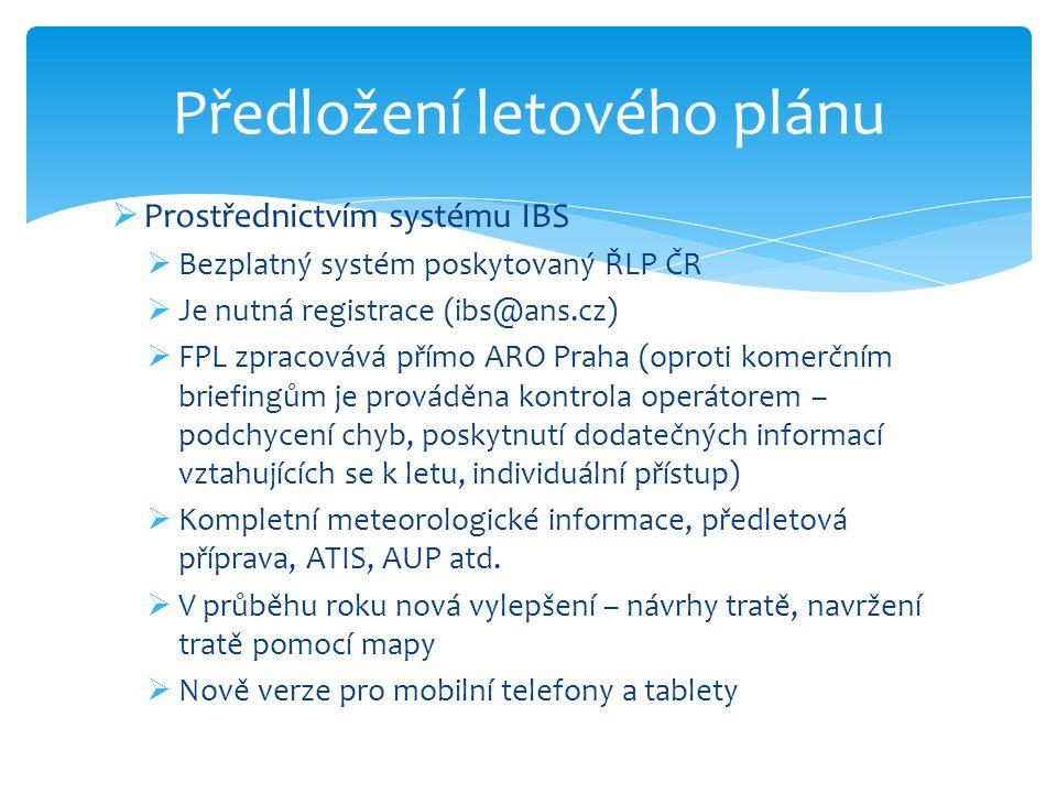  Prostřednictvím systému IBS  Bezplatný systém poskytovaný ŘLP ČR  Je nutná registrace (ibs@ans.cz)  FPL zpracovává přímo ARO Praha (oproti komerčním briefingům je prováděna kontrola operátorem – podchycení chyb, poskytnutí dodatečných informací vztahujících se k letu, individuální přístup)  Kompletní meteorologické informace, předletová příprava, ATIS, AUP atd.