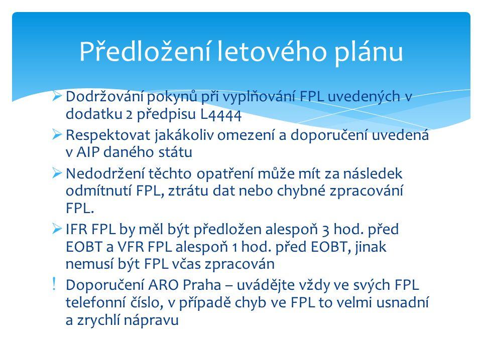  Dodržování pokynů při vyplňování FPL uvedených v dodatku 2 předpisu L4444  Respektovat jakákoliv omezení a doporučení uvedená v AIP daného státu  Nedodržení těchto opatření může mít za následek odmítnutí FPL, ztrátu dat nebo chybné zpracování FPL.