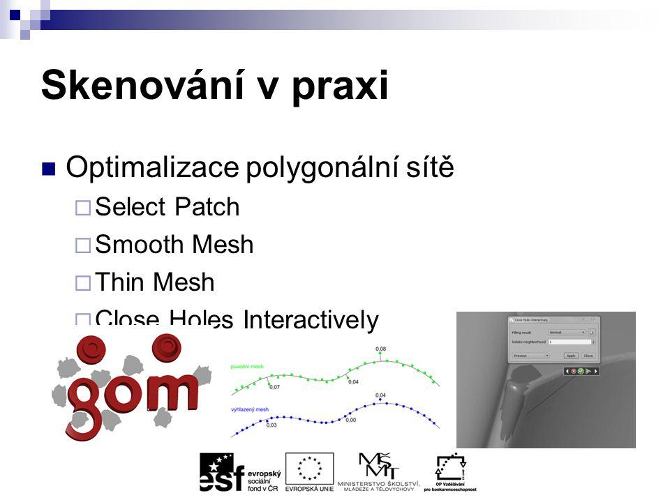 Skenování v praxi Optimalizace polygonální sítě  Select Patch  Smooth Mesh  Thin Mesh  Close Holes Interactively