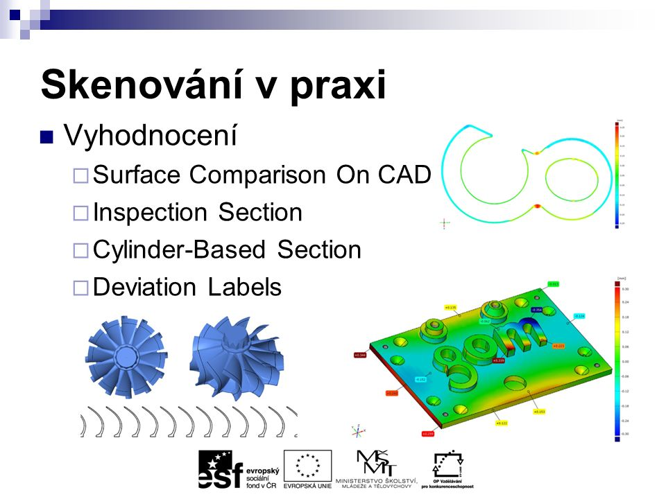 Skenování v praxi Vyhodnocení  Surface Comparison On CAD  Inspection Section  Cylinder-Based Section  Deviation Labels