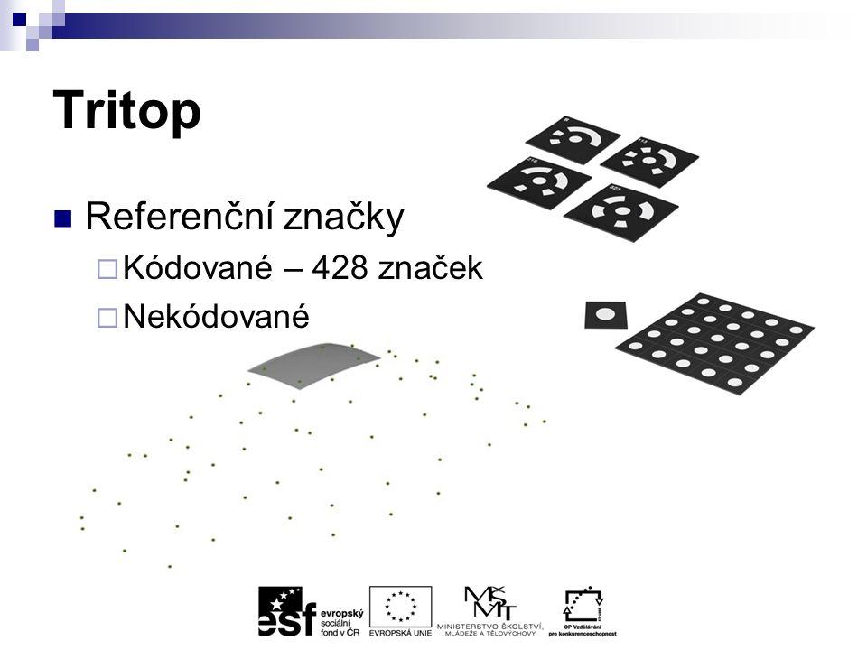 Tritop Postup focení  4 kalibrační fotky  Polokoule z fotek  Referenční značka aspoň na 3 snímcích z různých úhlů