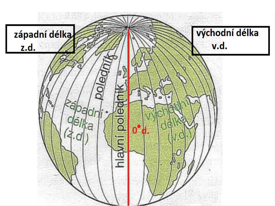 Rovnoběžky Myšlené čáry, ukazují směr od západu k východu Jsou kružnice Směrem k pólům se zkracují, nejsou stejně dlouhé Jsou označeny stupni Základní rovnoběžkou je rovník – rozděluje Zemi na severní a jižní polokouli - 0° Od rovníku se počítá 90° na sever a 90° na jih Označují zeměpisnou šířku – severní (s.š.) a jižní (j.š.)