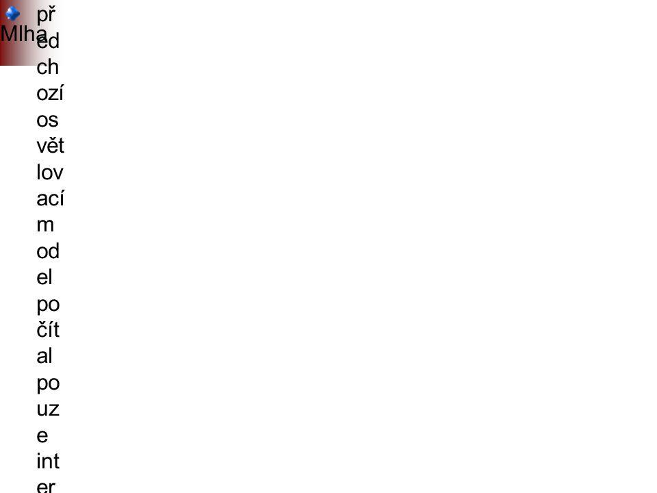 Mlha př ed ch ozí os vět lov ací m od el po čít al po uz e int er ak ci sv ětl a s p ov rc he m př ed m ět ů vli v pr ost ře dí (at m osf ér y) na šíř