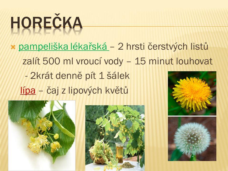  pampeliška lékařská – 2 hrsti čerstvých listů zalít 500 ml vroucí vody – 15 minut louhovat - 2krát denně pít 1 šálek lípa – čaj z lipových květů