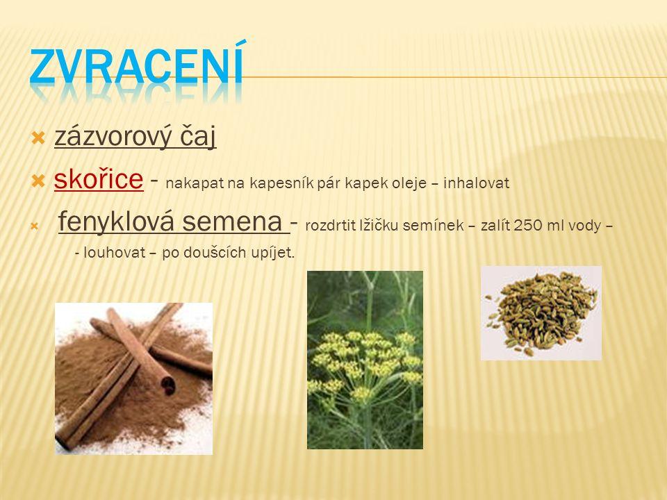  zázvorový čaj  skořice - nakapat na kapesník pár kapek oleje – inhalovat  fenyklová semena - rozdrtit lžičku semínek – zalít 250 ml vody – - louho