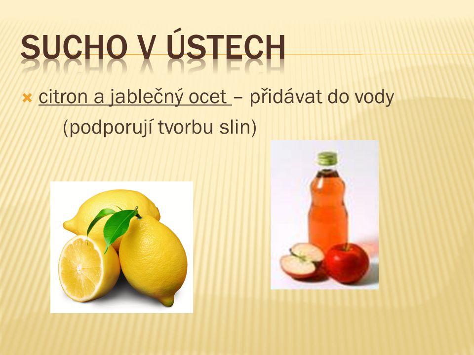  citron a jablečný ocet – přidávat do vody (podporují tvorbu slin)