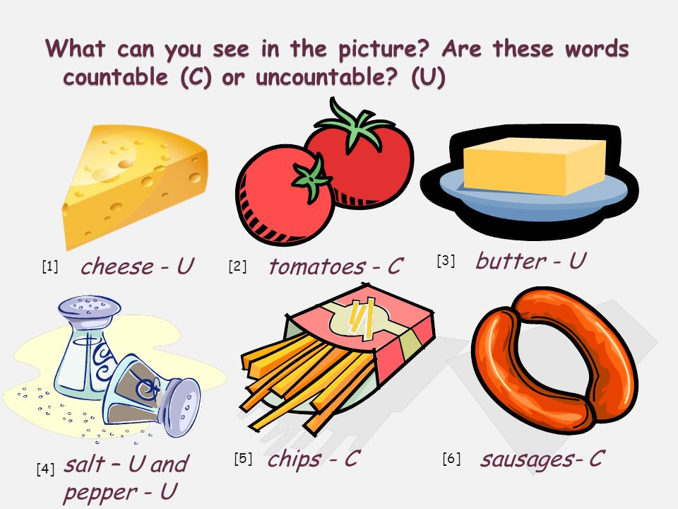 What can you see in the picture.Are these words countable (C) or uncountable.