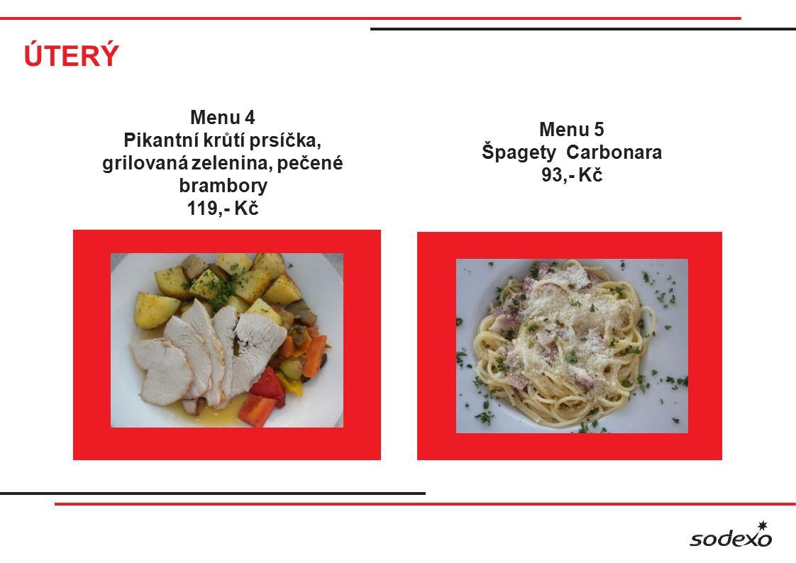ÚTERÝ Menu 4 Pikantní krůtí prsíčka, grilovaná zelenina, pečené brambory 119,- Kč Menu 5 Špagety Carbonara 93,- Kč