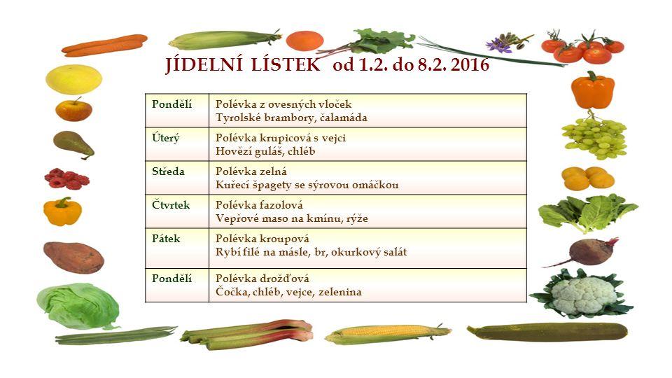 JÍDELNÍ LÍSTEK od 1.2. do 8.2. 2016 PondělíPolévka z ovesných vloček Tyrolské brambory, čalamáda ÚterýPolévka krupicová s vejci Hovězí guláš, chléb St