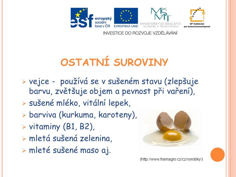 OSTATNÍ SUROVINY  vejce - používá se v sušeném stavu (zlepšuje barvu, zvětšuje objem a pevnost při vaření),  sušené mléko, vitální lepek,  barviva (kurkuma, karoteny),  vitaminy (B1, B2),  mletá sušená zelenina,  mleté sušené maso aj.
