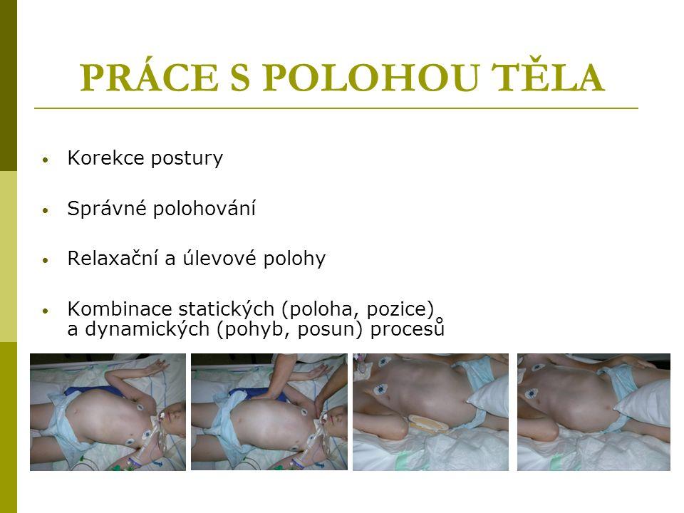 PRÁCE S POLOHOU TĚLA Korekce postury Správné polohování Relaxační a úlevové polohy Kombinace statických (poloha, pozice) a dynamických (pohyb, posun) procesů