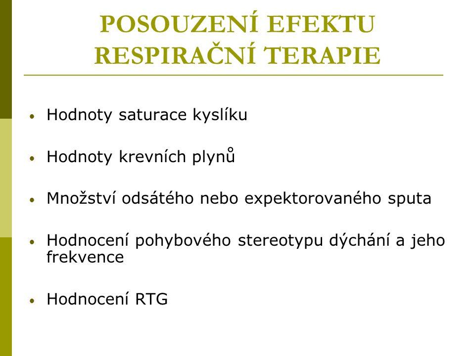 POSOUZENÍ EFEKTU RESPIRAČNÍ TERAPIE Hodnoty saturace kyslíku Hodnoty krevních plynů Množství odsátého nebo expektorovaného sputa Hodnocení pohybového stereotypu dýchání a jeho frekvence Hodnocení RTG