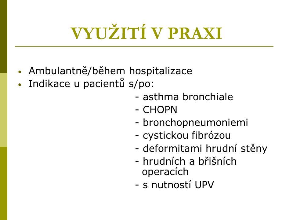 VYUŽITÍ V PRAXI Ambulantně/během hospitalizace Indikace u pacientů s/po: - asthma bronchiale - CHOPN - bronchopneumoniemi - cystickou fibrózou - deformitami hrudní stěny - hrudních a břišních operacích - s nutností UPV