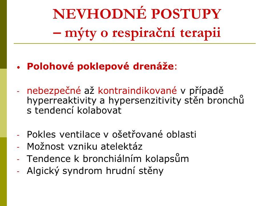 NEVHODNÉ POSTUPY – mýty o respirační terapii Polohové poklepové drenáže: - nebezpečné až kontraindikované v případě hyperreaktivity a hypersenzitivity stěn bronchů s tendencí kolabovat - Pokles ventilace v ošetřované oblasti - Možnost vzniku atelektáz - Tendence k bronchiálním kolapsům - Algický syndrom hrudní stěny