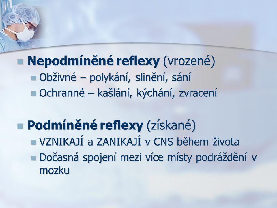 Nepodmíněné reflexy (vrozené) Nepodmíněné reflexy (vrozené) Obživné – polykání, slinění, sání Obživné – polykání, slinění, sání Ochranné – kašlání, kýchání, zvracení Ochranné – kašlání, kýchání, zvracení Podmíněné reflexy (získané) Podmíněné reflexy (získané) VZNIKAJÍ a ZANIKAJÍ v CNS během života VZNIKAJÍ a ZANIKAJÍ v CNS během života Dočasná spojení mezi více místy podráždění v mozku Dočasná spojení mezi více místy podráždění v mozku