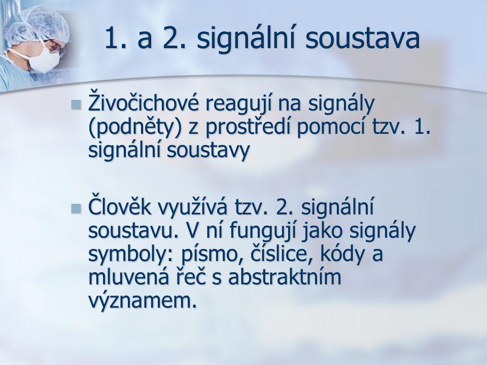 1. a 2. signální soustava Živočichové reagují na signály (podněty) z prostředí pomocí tzv. 1. signální soustavy Živočichové reagují na signály (podnět