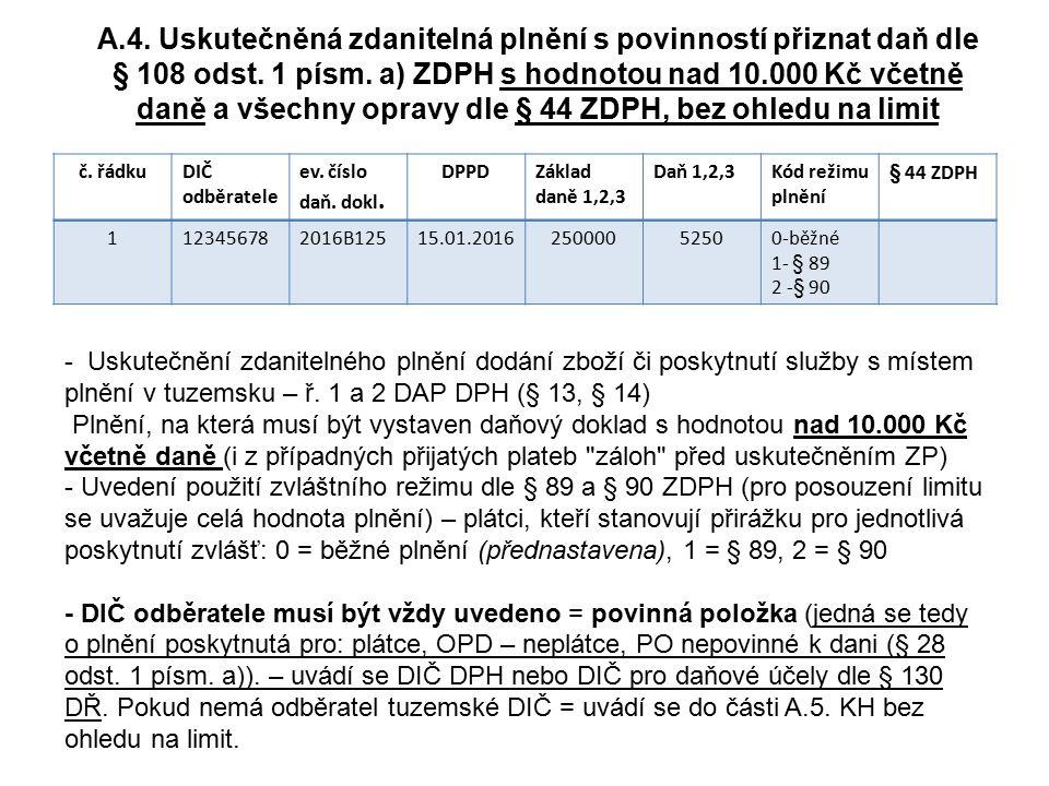 A.4. Uskutečněná zdanitelná plnění s povinností přiznat daň dle § 108 odst. 1 písm. a) ZDPH s hodnotou nad 10.000 Kč včetně daně a všechny opravy dle