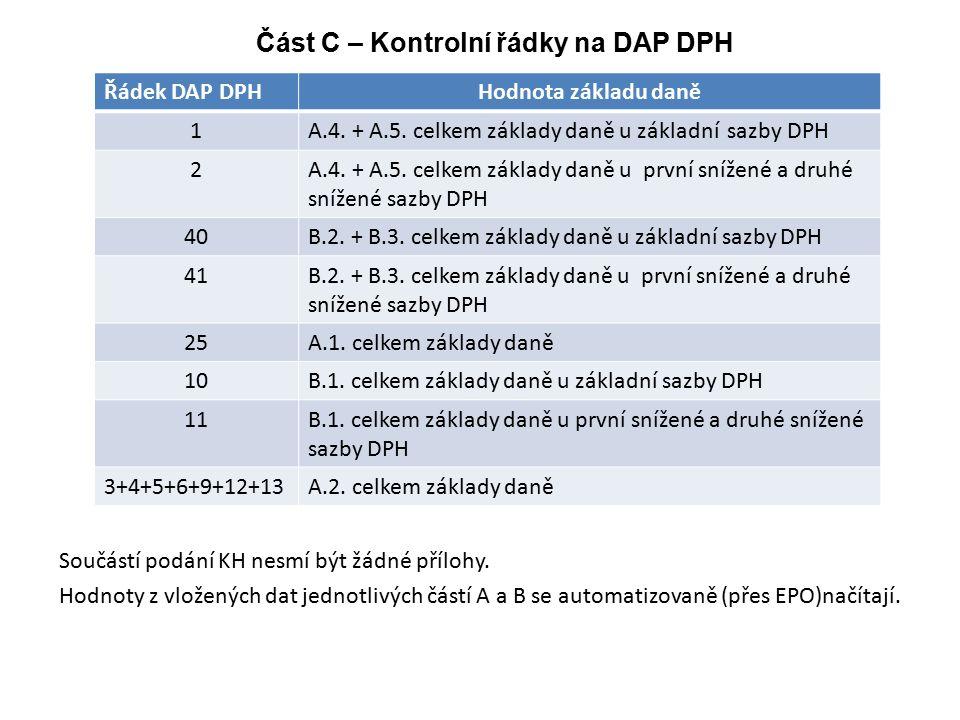 Část C – Kontrolní řádky na DAP DPH Řádek DAP DPHHodnota základu daně 1A.4. + A.5. celkem základy daně u základní sazby DPH 2A.4. + A.5. celkem základ