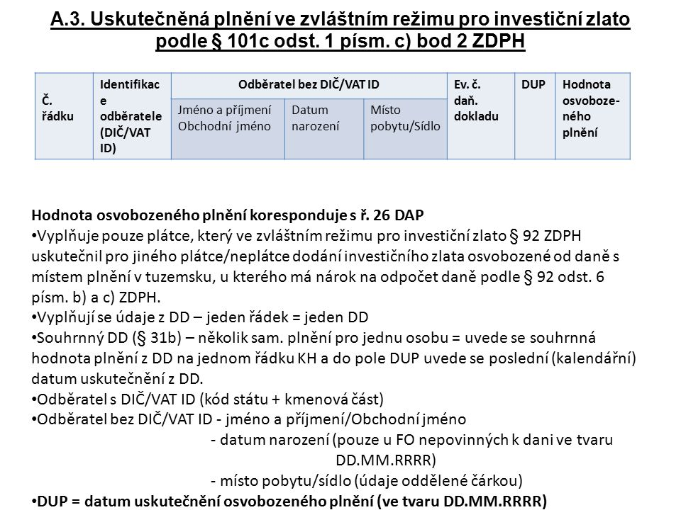 A.3. Uskutečněná plnění ve zvláštním režimu pro investiční zlato podle § 101c odst. 1 písm. c) bod 2 ZDPH Č. řádku Identifikac e odběratele (DIČ/VAT I