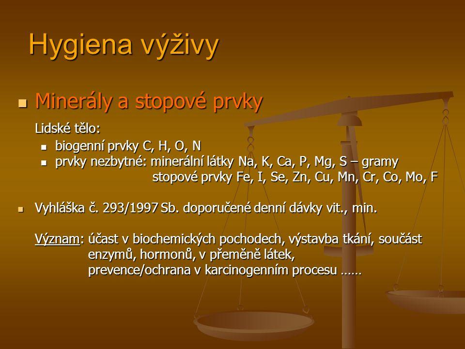 Hygiena výživy Minerály a stopové prvky Minerály a stopové prvky Lidské tělo: biogenní prvky C, H, O, N biogenní prvky C, H, O, N prvky nezbytné: minerální látky Na, K, Ca, P, Mg, S – gramy prvky nezbytné: minerální látky Na, K, Ca, P, Mg, S – gramy stopové prvky Fe, I, Se, Zn, Cu, Mn, Cr, Co, Mo, F stopové prvky Fe, I, Se, Zn, Cu, Mn, Cr, Co, Mo, F Vyhláška č.