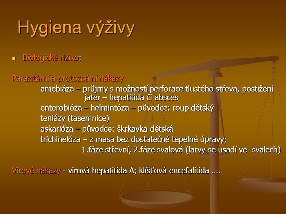 Hygiena výživy Biologické riziko: Biologické riziko: Parazitární a protozoální nákazy amebiáza – průjmy s možností perforace tlustého střeva, postižení jater – hepatitida či absces enterobióza – helmintóza – původce: roup dětský teniázy (tasemnice) askarióza – původce: škrkavka dětská askarióza – původce: škrkavka dětská trichinelóza – z masa bez dostatečné tepelné úpravy; 1.fáze střevní, 2.fáze svalová (larvy se usadí ve svalech) 1.fáze střevní, 2.fáze svalová (larvy se usadí ve svalech) Virové nákazy - virová hepatitida A; klíšťová encefalitida ….