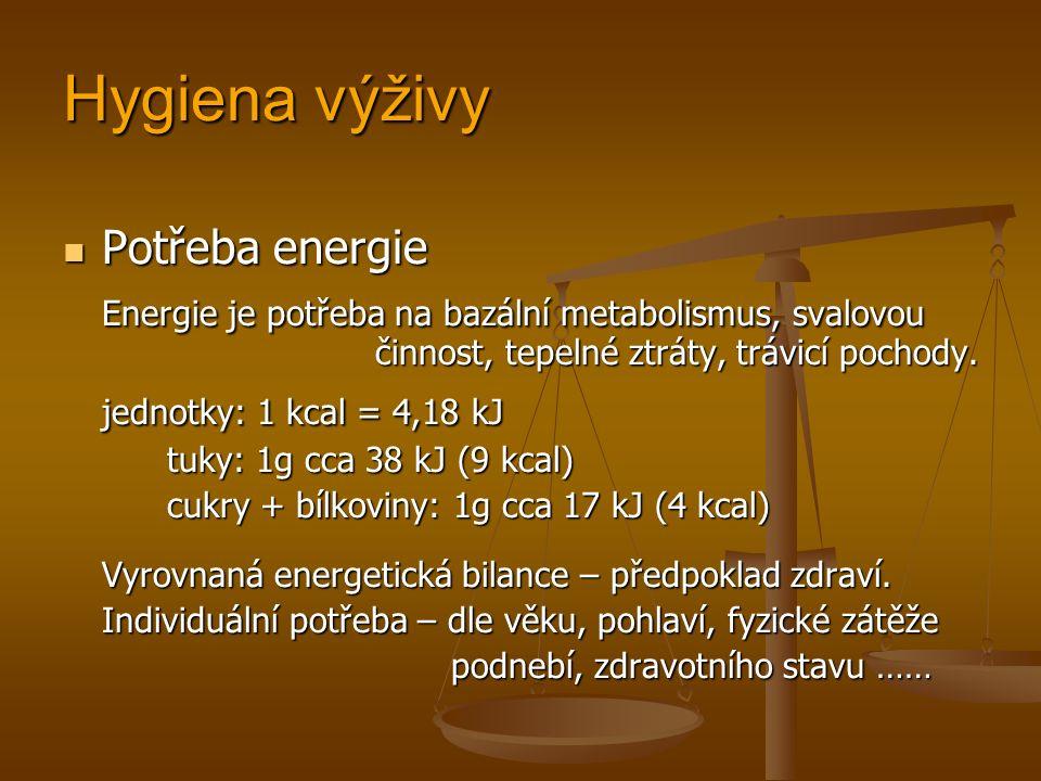 Hygiena výživy Potřeba energie Potřeba energie Energie je potřeba na bazální metabolismus, svalovou činnost, tepelné ztráty, trávicí pochody.