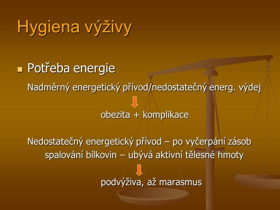 Hygiena výživy Potřeba energie Potřeba energie Nadměrný energetický přívod/nedostatečný energ.