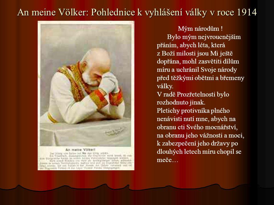 An meine Völker: Pohlednice k vyhlášení války v roce 1914 Mým národům .