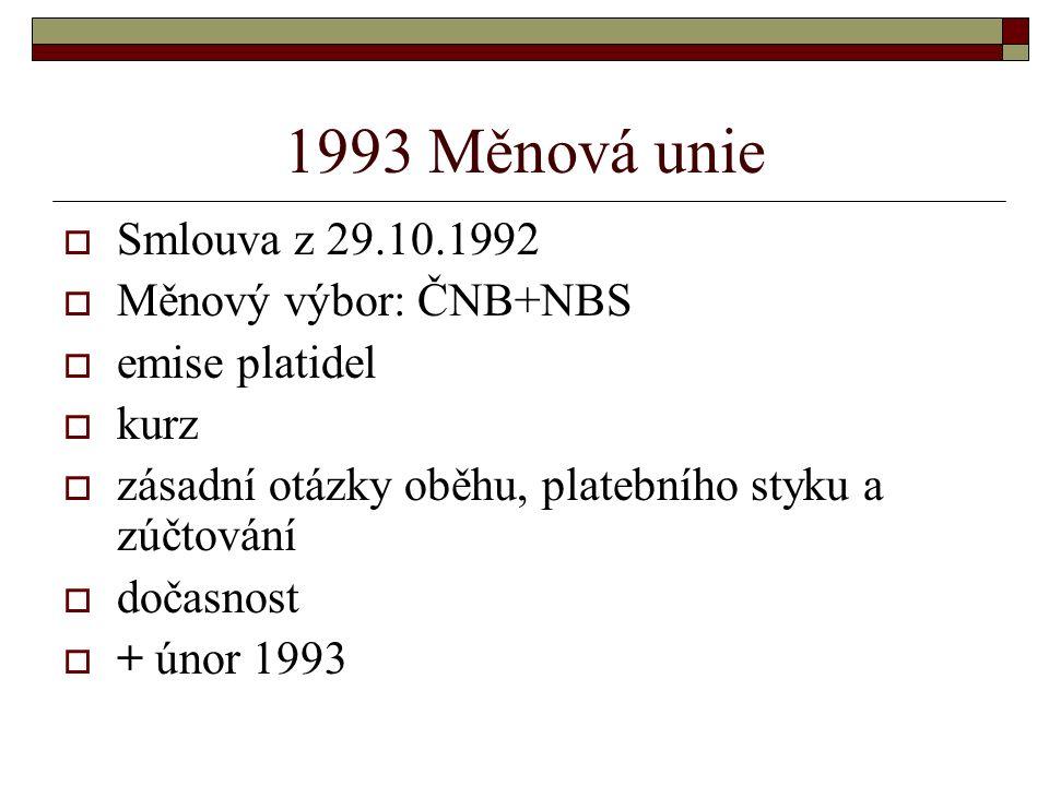 1993 Měnová unie  Smlouva z 29.10.1992  Měnový výbor: ČNB+NBS  emise platidel  kurz  zásadní otázky oběhu, platebního styku a zúčtování  dočasnost  + únor 1993