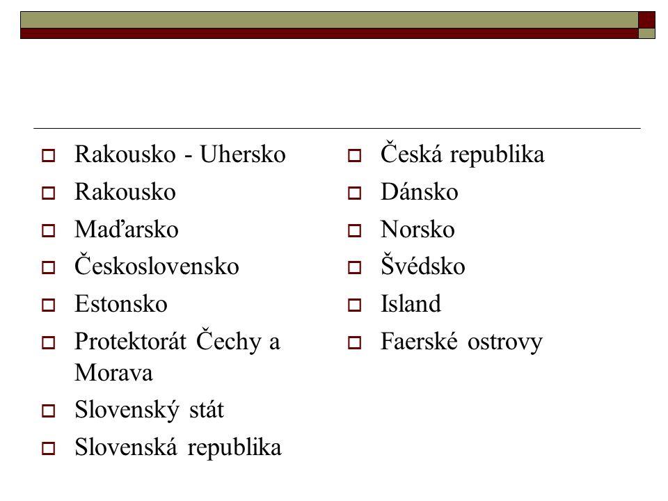  Rakousko - Uhersko  Rakousko  Maďarsko  Československo  Estonsko  Protektorát Čechy a Morava  Slovenský stát  Slovenská republika  Česká republika  Dánsko  Norsko  Švédsko  Island  Faerské ostrovy