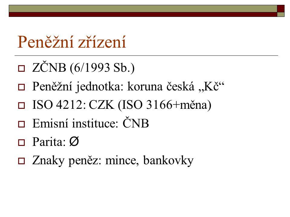 """Peněžní zřízení  ZČNB (6/1993 Sb.)  Peněžní jednotka: koruna česká """"Kč  ISO 4212: CZK (ISO 3166+měna)  Emisní instituce: ČNB  Parita: Ø  Znaky peněz: mince, bankovky"""