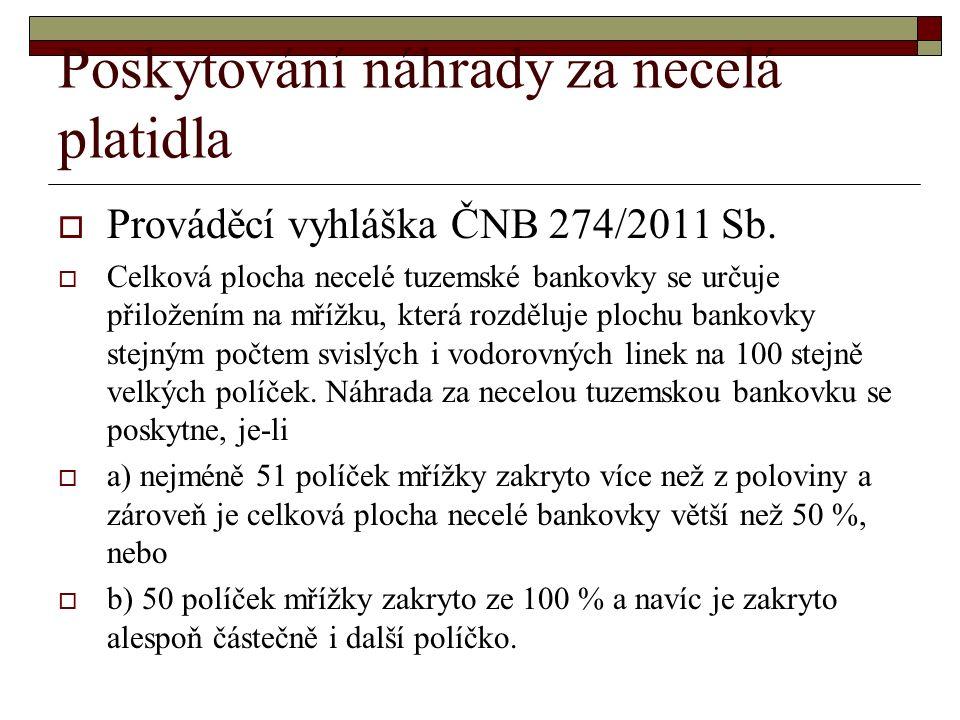 Poskytování náhrady za necelá platidla  Prováděcí vyhláška ČNB 274/2011 Sb.
