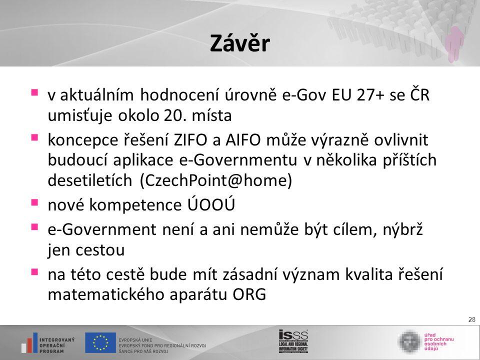 28 Závěr  v aktuálním hodnocení úrovně e-Gov EU 27+ se ČR umisťuje okolo 20.