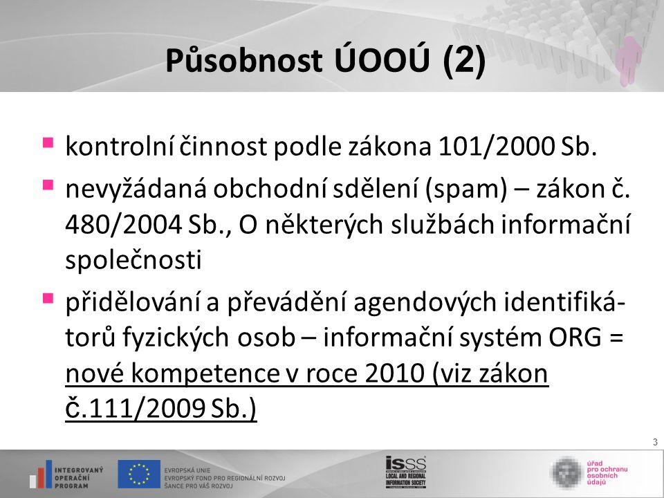 3 Působnost ÚOOÚ (2)  kontrolní činnost podle zákona 101/2000 Sb.