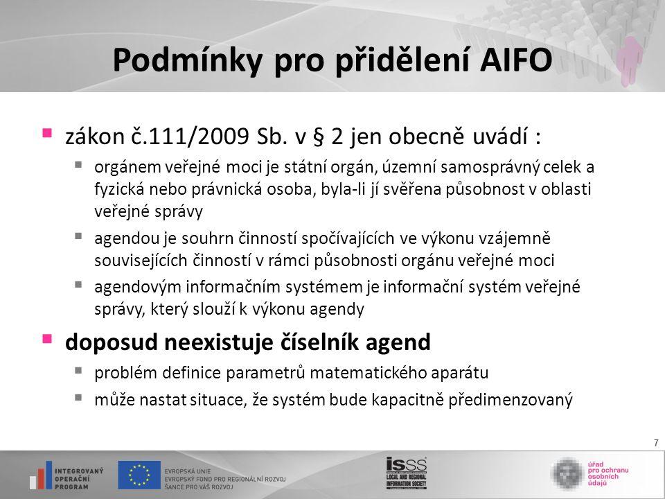 7 Podmínky pro přidělení AIFO  zákon č.111/2009 Sb.