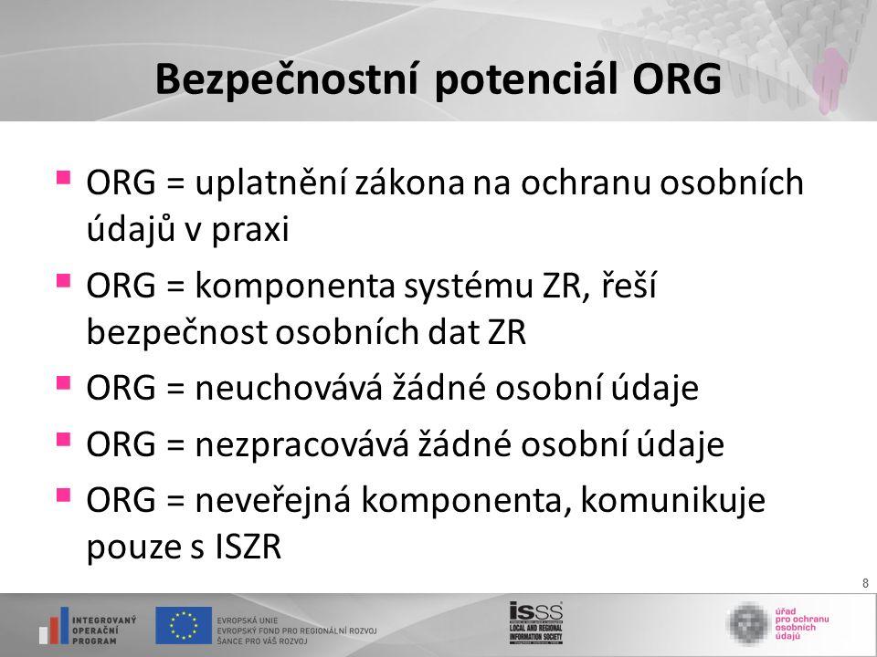 8 Bezpečnostní potenciál ORG  ORG = uplatnění zákona na ochranu osobních údajů v praxi  ORG = komponenta systému ZR, řeší bezpečnost osobních dat ZR  ORG = neuchovává žádné osobní údaje  ORG = nezpracovává žádné osobní údaje  ORG = neveřejná komponenta, komunikuje pouze s ISZR