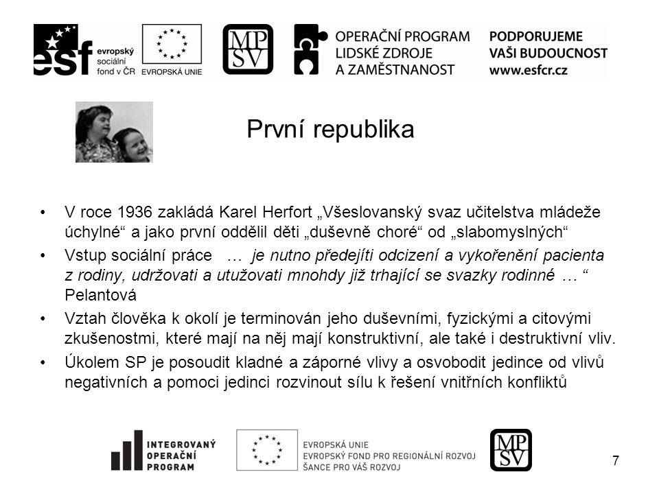 Československá společnost pro péči o duševní zdraví v Praze  Odborné i osvětové přednášky,  vydávání odborné literatury,  zaměření na spolupráci se školou - zejména učiteli,  zabezpečení přechodu z ústavní péče do normálního života .