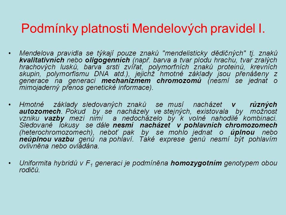 Podmínky platnosti Mendelových pravidel I.