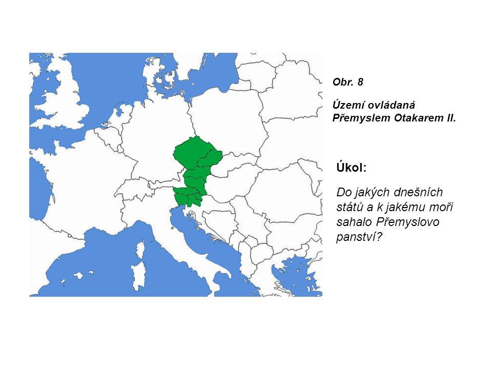 Obr. 8 Území ovládaná Přemyslem Otakarem II.