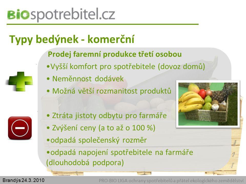 Typy bedýnek - komerční PRO-BIO LIGA ochrany spotřebitelů a přátel ekologického zemědělství Brandýs 24.3.