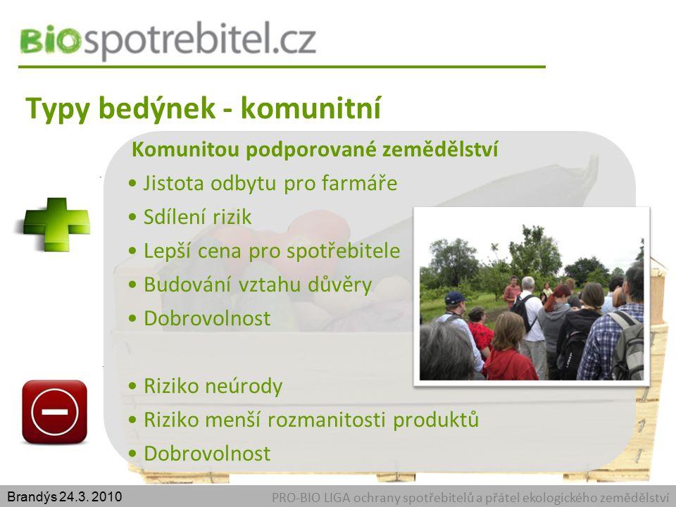 Typy bedýnek - komunitní PRO-BIO LIGA ochrany spotřebitelů a přátel ekologického zemědělství Brandýs 24.3.