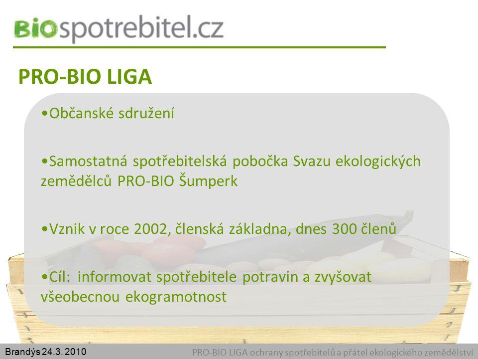 PRO-BIO LIGA PRO-BIO LIGA ochrany spotřebitelů a přátel ekologického zemědělství Brandýs 24.3.