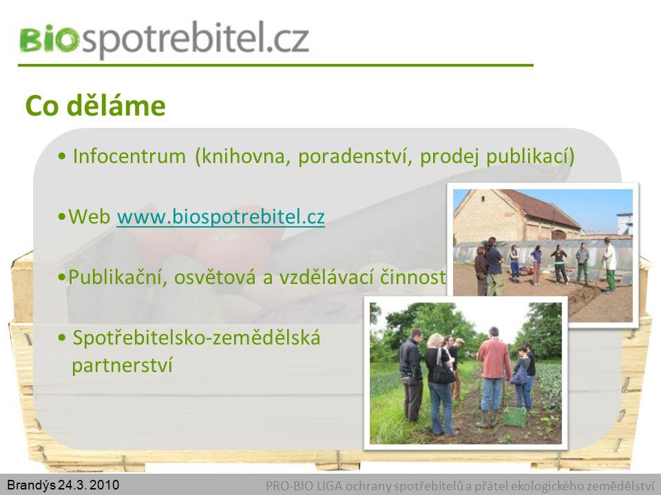 Co děláme PRO-BIO LIGA ochrany spotřebitelů a přátel ekologického zemědělství Brandýs 24.3.