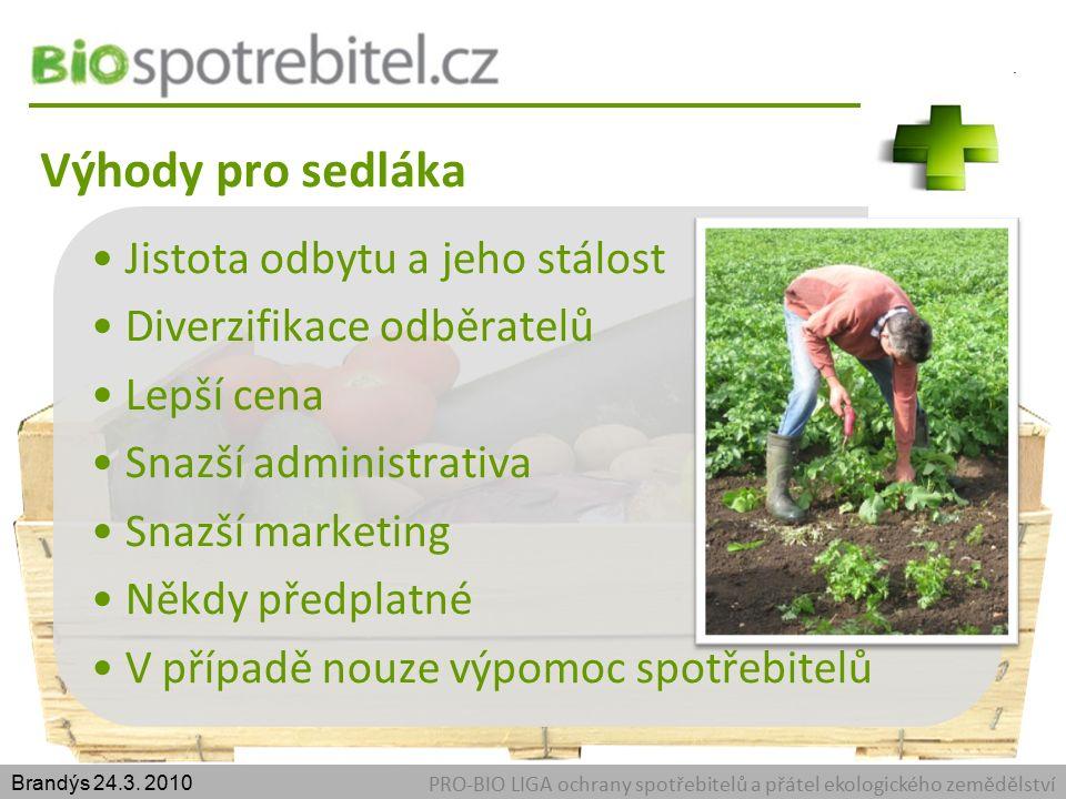 Výhody pro sedláka PRO-BIO LIGA ochrany spotřebitelů a přátel ekologického zemědělství Brandýs 24.3.