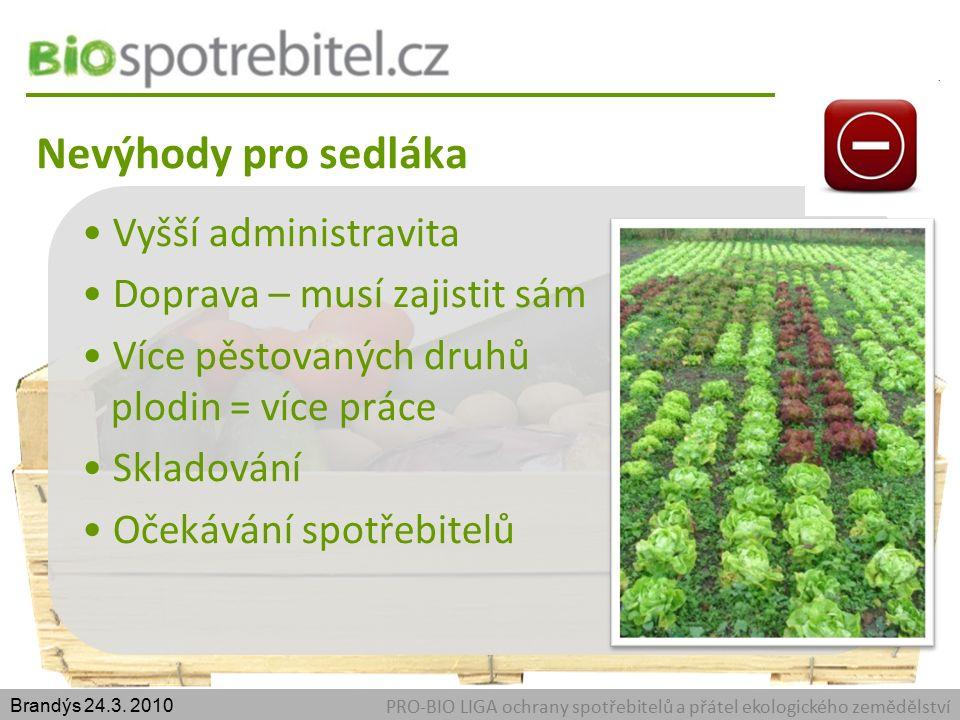 Nevýhody pro sedláka PRO-BIO LIGA ochrany spotřebitelů a přátel ekologického zemědělství Brandýs 24.3.