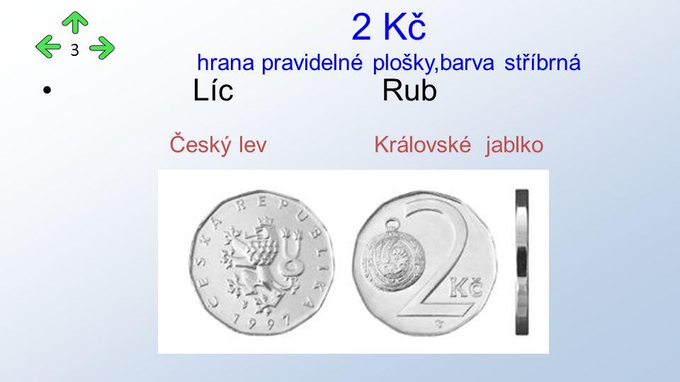 LícRub 2 Kč hrana pravidelné plošky,barva stříbrná 3 Český lev Královské jablko