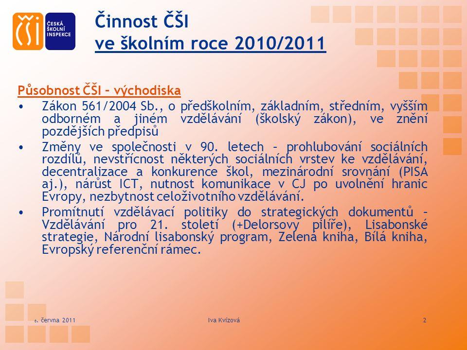 Činnost ČŠI ve školním roce 2010/2011 Působnost ČŠI – východiska Zákon 561/2004 Sb., o předškolním, základním, středním, vyšším odborném a jiném vzděl