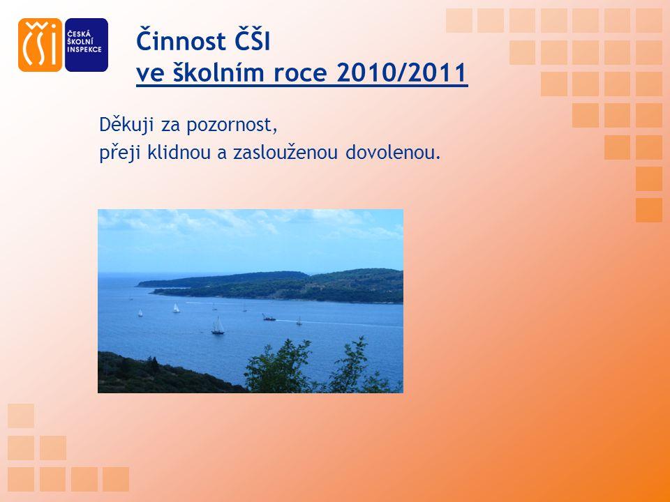 Činnost ČŠI ve školním roce 2010/2011 Děkuji za pozornost, přeji klidnou a zaslouženou dovolenou.